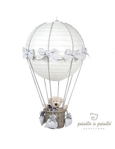 Luster luchtballon beer grijs ruitjes
