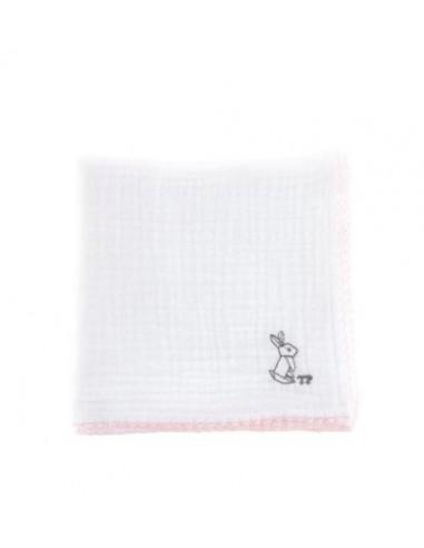 Tetra doek TP wit roze konijn 45*45