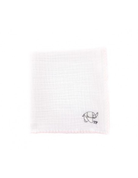Tetra doek TP wit roze olifant 45*45