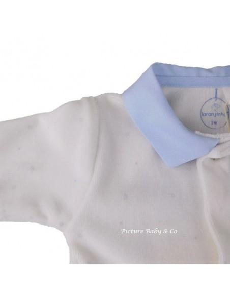 Laranjinha pyjama wit kraag blauw konijntjes