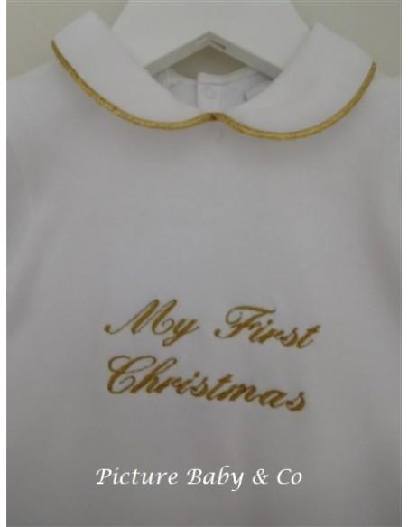 Pyjama geborduurd My First Christmas goud 3m