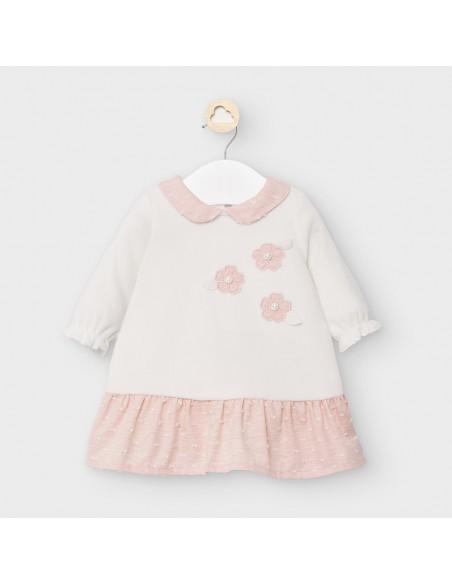 Mayoral kleedje ecru velours roze bloemetjes