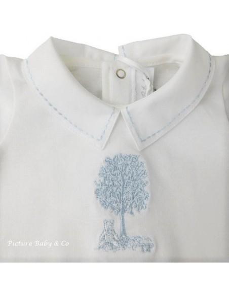 TP pyjama jersey kraag boompje blauw